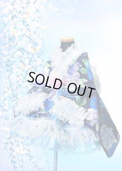 画像1: Cサイズ:浴衣ドレスセット(水玉牡丹(紺×青)