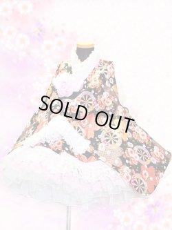 画像1: <Bサイズ>着物ドレスセット:車輪に鹿の子桜(黒)