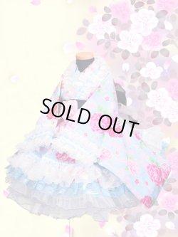 画像1: Bサイズ:浴衣ドレスセット(薔薇に真珠(水色)