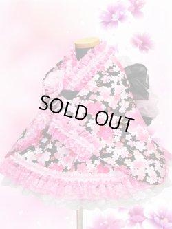 画像1: <Aサイズ>着物ドレスセット:桜の滝(黒)