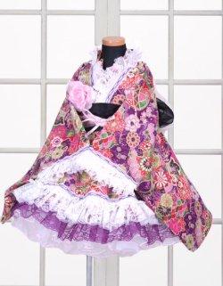 画像1: <Bサイズ>特選着物ドレスセット:毬の乱(紫)
