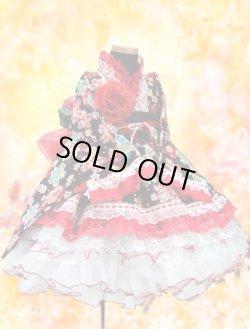 画像1: <Cサイズ>着物ドレスセット:型取り桜(黒)
